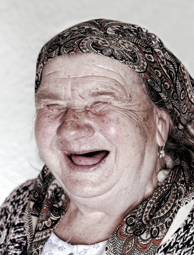 Laughing old lady