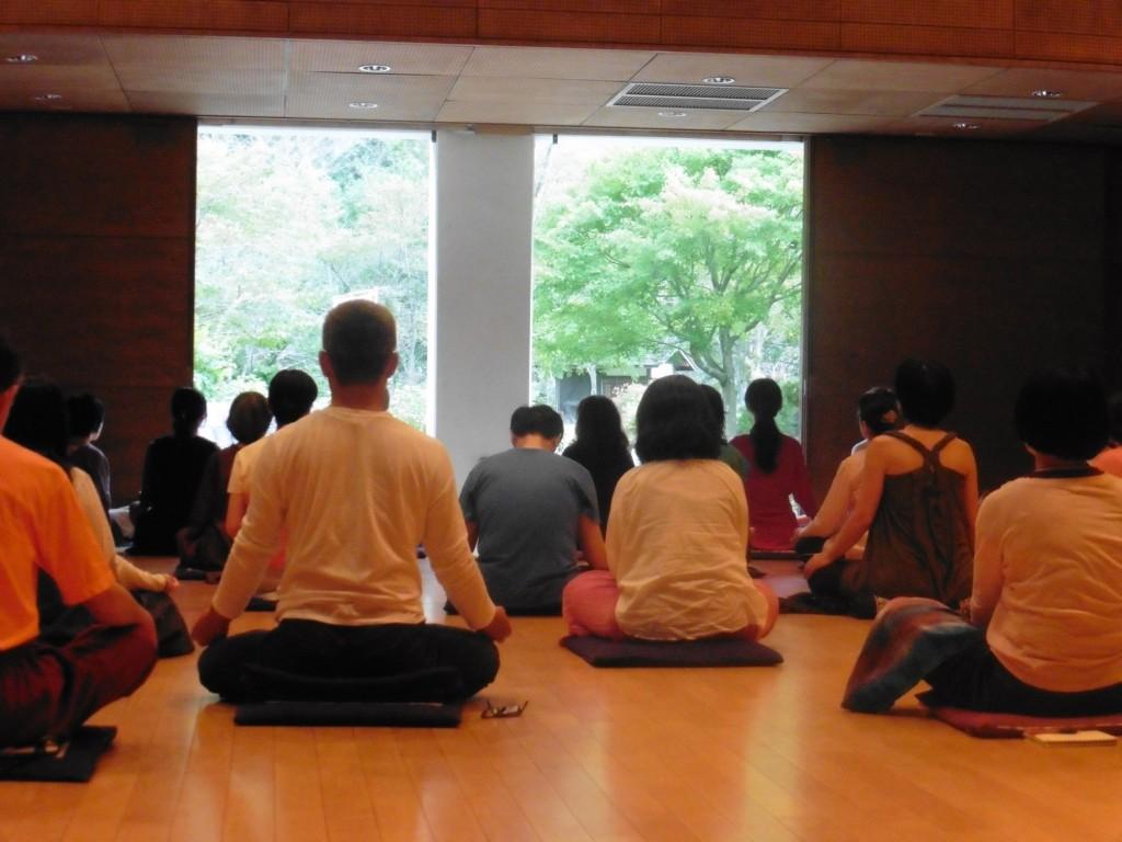 Meditators facing garden - meditation & resilience