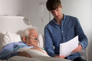 Patient looking at document